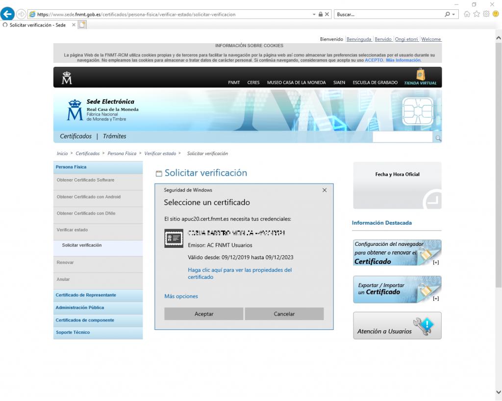 FNMT CERES - Comprobar y verificar Certificado Digital.