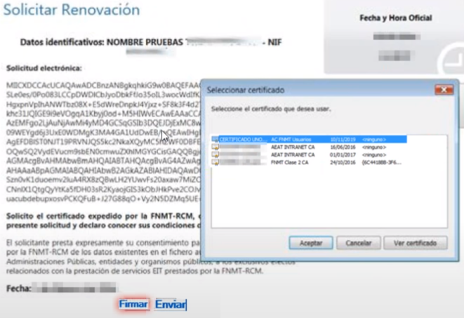 FNMT ceres. Revisión del Certificado en la solicitud Renovación de Certificado Digital de Persona Física en la fnmt ceres.