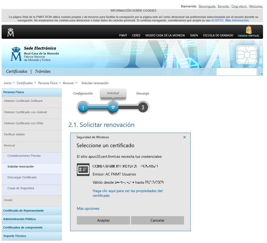 FNMT ceres. Cómo renovar Certificado Digital Persona Física en la fnmt ceres.