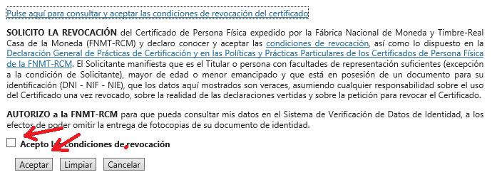 FNMT ceres. Aceptación de los términos y condiciones y revocación del certificado en la solicitud de revocación de Certificado Digital fnmt de Persona Física.