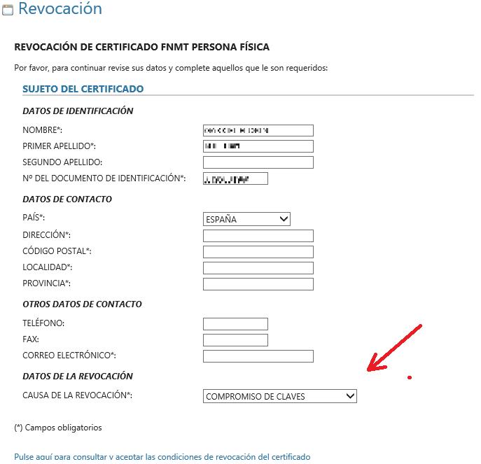 FNMT ceres. Rellenar datos en la solicitud de revocación de Certificado Digital fnmt de Persona Física.