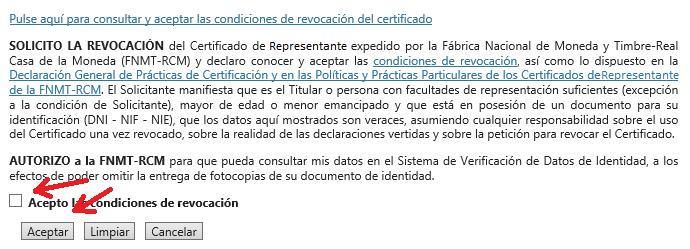 FNMT ceres. Pulsar para leer las condiciones de revocación de certificado en la solicitud de Revocación de Certificado Digital fnmt de Administrador Único o Solidario.