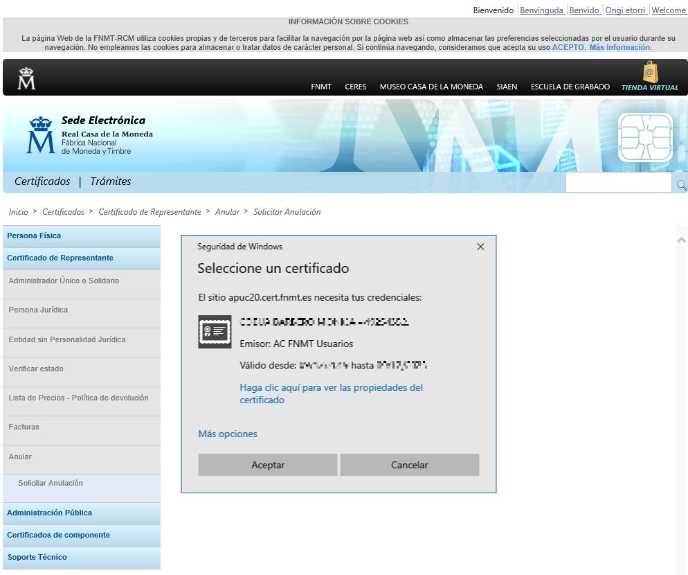 FNMT ceres. Rellenar datos en la solicitud de revocación de Certificado Digital fnmt de Administrador Único o Solidario.