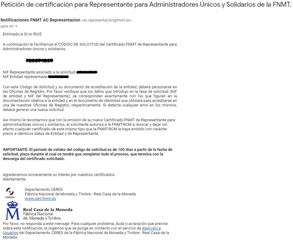 FNMT ceres. Correo electrónico recibido en la solicitud de Certificado Digital fnmt de Administrador Único y Solidario sin ningún certificado.