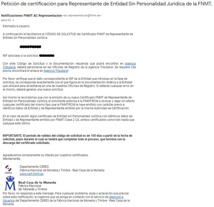 FNMT ceres. Correo electrónico recibido en la solicitud de Certificado Digital fnmt de Entidad sin Personalidad Jurídica.