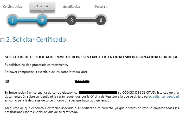 FNMT ceres. Solicitud exitosa en la solicitud de Certificado Digital fnmt de Entidad sin Personalidad Jurídica.