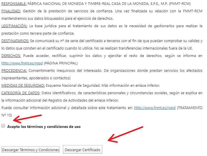 FNMT ceres. Aceptación de los términos y condiciones y descarga del certificado en la solicitud de Certificado Digital fnmt de Persona Física mediante archivo descargable.
