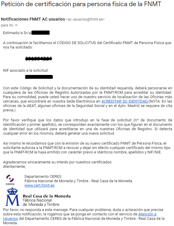 FNMT ceres. Código de solicitud en la solicitud de Certificado Digital fnmt de Persona Física mediante archivo descargable.