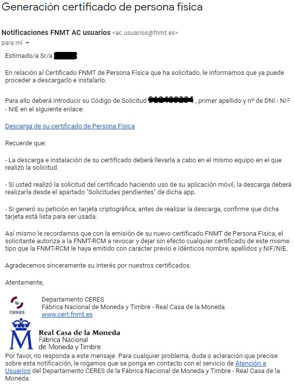 FNMT ceres. Descargar Certificado Digital fnmt de Persona Física mediante archivo descargable.