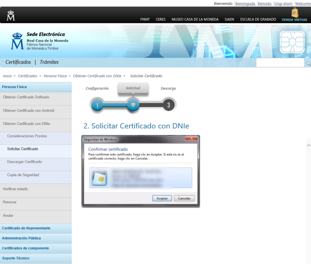 FNMT ceres. Cómo solicitar Certificado Digital fnmt de Persona Física con DNI electrónico.