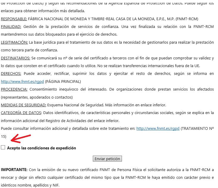 FNMT ceres. Aceptación de las condiciones en la solicitud de Certificado Digital fnmt de Persona Física con DNI electrónico.
