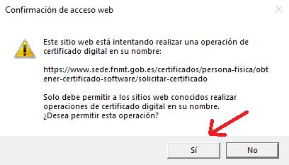 FNMT ceres. Confirmación de acceso web en la solicitud de Certificado Digital fnmt de Persona Física con DNI electrónico.