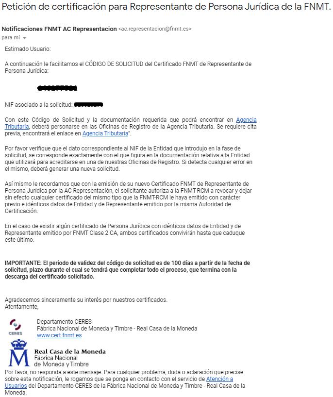 FNMT ceres. Correo electrónico recibido en la solicitud de Certificado Digital fnmt de Persona Jurídica.