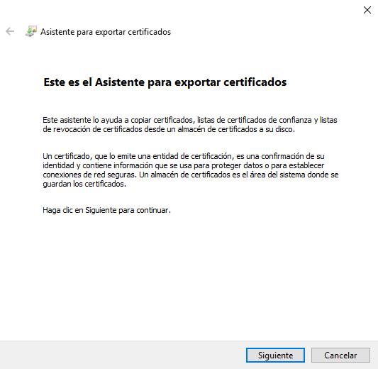 Asistente de Windows para Exportar Certificado Digital en Internet Explorer.