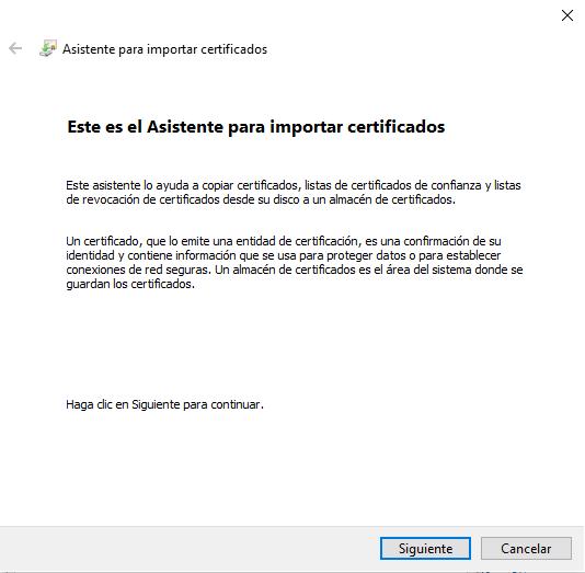 Asistente de Windows para Importar Certificado Digital en Internet Explorer.