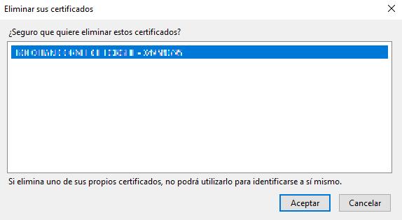 Confirmar la eliminación de un Certificado Digital en Mozilla Firefox.