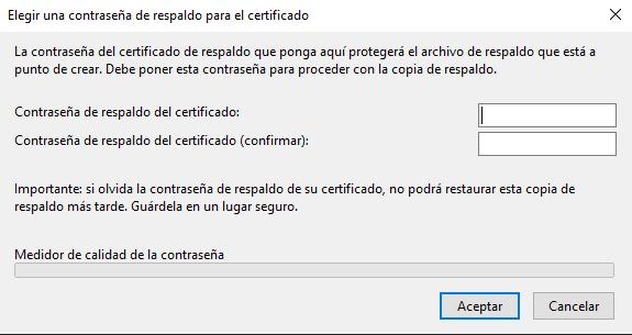 Contraseña de respaldo a la hora de exportar un Certificado Digital de Mozilla Firefox.