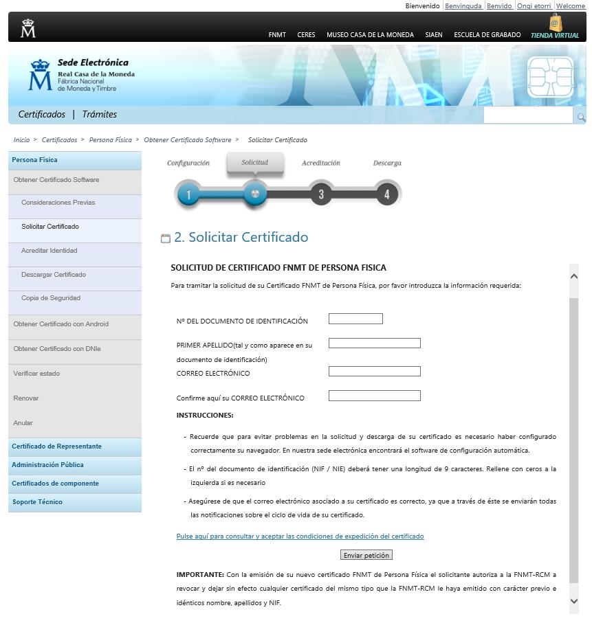 FNMT ceres. Cómo solicitar Certificado Digital fnmt de Persona Física mediante archivo descargable.