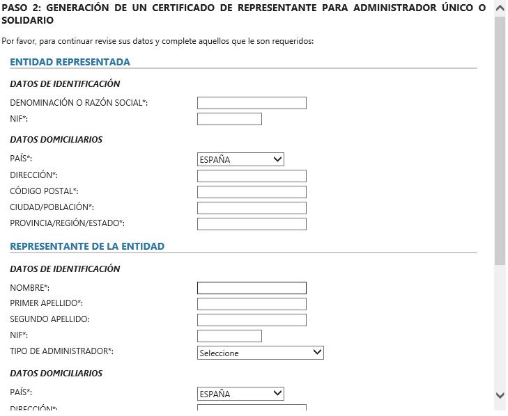 FNMT ceres. Completar datos en la web de la FNMT y en la solicitud de renovación de Certificado Digital fnmt de Administrador Único o Solidario.