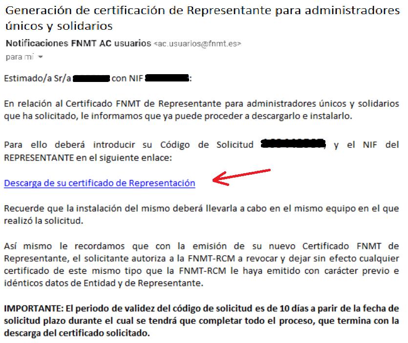 FNMT ceres. Recepción de correo electrónico para proceder a descargar  el Certificado Digital fnmt de Administrador Único o Solidario con certificado electrónico de Persona Física.