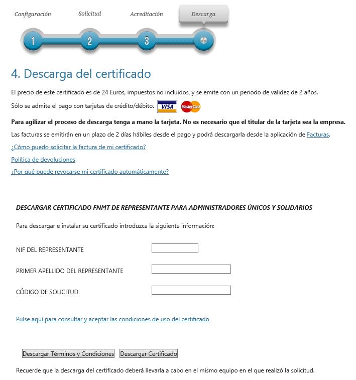 FNMT ceres. Página descarga e introducción de los datos del Certificado Digital fnmt de Administrador Único o Solidario con certificado electrónico de Persona Física.