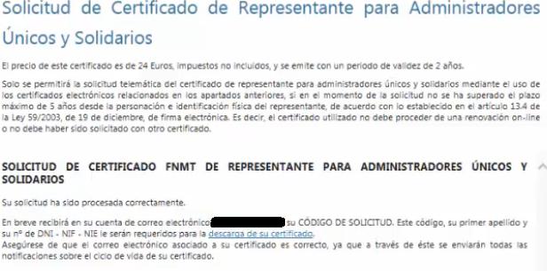 FNMT ceres. Solicitud de Certificado Digital de representante fnmt de Administrador Único o Solidario con certificado electrónico de Persona Física.