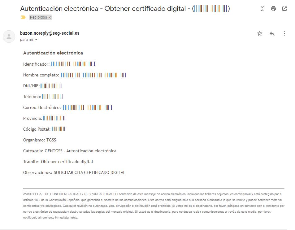 Resumen solicitud cita previa certificado digital.